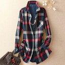 あったか裏フリースチェック柄ロングシャツ(S〜LL) ベルーナ 40代 50代 60代 レディース ミセス ファッション 秋 冬 …