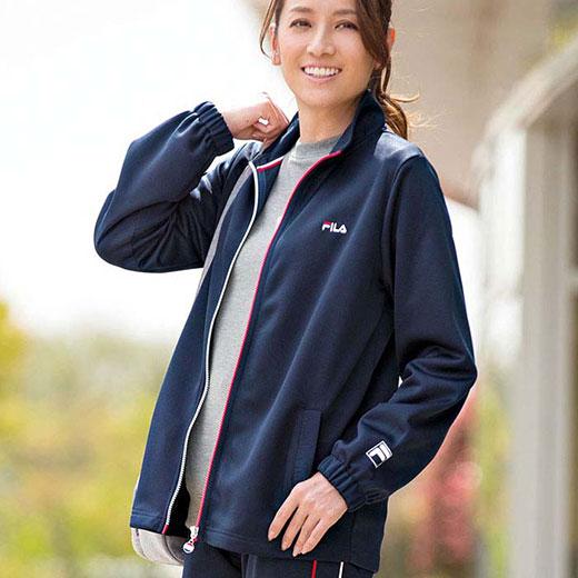 <FILA>ジャージジャケット(3L〜5L) ベルーナ 40代 50代 60代 レディース ミセス ファッション 大きいサイズ ストレッチ フィラ