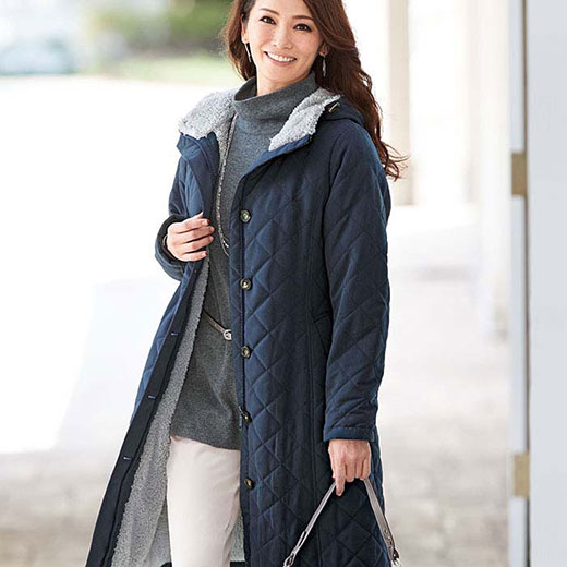 極暖ベンチコート(3L〜5L) ベルーナ 40代 50代 60代 レディース ミセス ファッション 大きいサイズ 秋 冬 あったか ロング丈