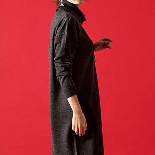 ニットワンピース M L LL 3Lタートルネックカシミヤタッチニットワンピ ベルーナ ラナン Ranan 30代 40代 ファッション レディース 女性ワンピース 春 長袖 大人 ワンピ