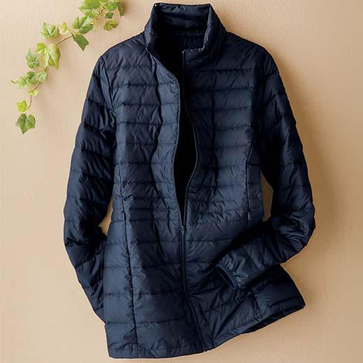 ジャケット レディース 女性 春 M LL Lサイズ 軽量ダウンジャケット(ポーチ付)(M〜LL) ベルーナ 40代 50代 60代 レディース 女性 ミセス ファッションロングコート ジャケット おばあちゃん プレゼント