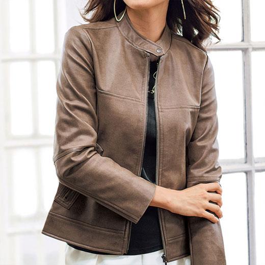 ジャケット レディース 女性 春 M LL Lサイズフェイクレザー素材ジッパー使いジャケット(M〜LL) ベルーナ Belluna 40代 50代 60代 レディース 女性 ミセス ファッション