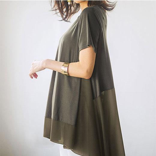 チュニック M LL L 3Lシフォン切替チュニック ベルーナ ラナン Ranan 夏 30代 40代 ファッション レディース 女性 シャツ ブラウス チュニック ホワイト 体型カバー 母の日