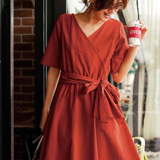 ワンピース M LL L 3L 綿麻カシュクールワンピース ベルーナ ラナン Ranan 夏 30代 40代 ファッション レディース 女性 ワンピース レディース 女性