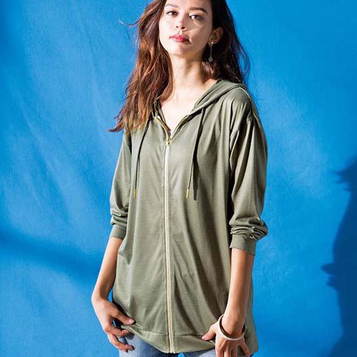 パーカー LL 3L UVカットひんやりゆるパーカー(LL〜3L) ベルーナ ラナン Ranan 夏 30代 40代 ファッション レディース 女性 大きいサイズ パーカー レディース 女性 接触冷感 涼しい 冷感 ひんやり