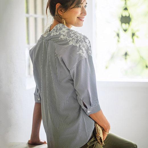 ブラウス 3L 刺しゅうデザインブラウス(3L) ベルーナ ラナン Ranan 夏 30代 40代 ファッション レディース 女性 大きいサイズ ブラウス チュニック ホワイト 体型カバー