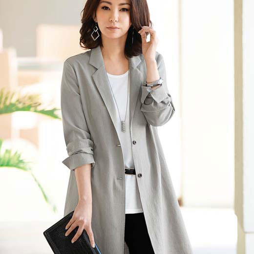 ジャケット 夏 5L 4L 3Lサイズ麻混素材ロング丈テーラードジャケット(3L〜5L) ベルーナ 40代 50代 60代 レディース 女性 ミセス ファッション 大きいサイズ 母の日