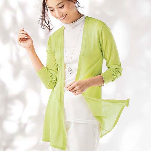 ニットカーディガン 夏 M LL Lサイズなめらかテンセル100%カーディガン(M〜LL) ベルーナ 40代 50代 60代 レディース 女性 ミセス ファッション