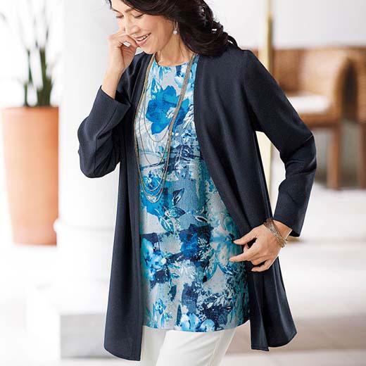 ジャケット 夏 M LL L 3Lサイズ ちりめん素材トッパーカーディガン ベルーナ 40代 50代 60代 レディース 女性 ミセス ファッション おばあちゃん プレゼント