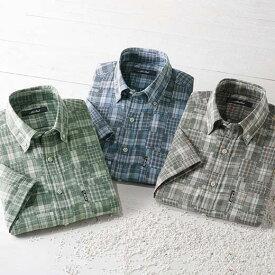 シャツ S M LL L 3L <マクベス>お洒落なパッチワーク調チェックシャツ 1枚 ベルーナ 40代 50代 60代 紳士 夏服 ファッション メンズ メンズライフ ファッション シャツ おじいちゃん プレゼント 小さいサイズ
