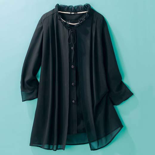 ブラックフォーマル M LL L ブラックフォーマルチュニック(M〜LL) ベルーナ ルフラン 40代 50代 60代 レディース 女性 ミセス ファッション 夏服 婦人服 おばあちゃん プレゼント