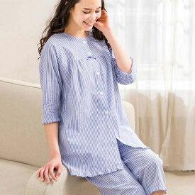 パジャマ 5L 4L 3L 涼やか前開きパジャマ(3L〜5L) ベルーナ ルフラン 40代 50代 60代 レディース 女性 ミセス ファッション 夏服 婦人服 大きいサイズ