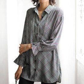 ●アウトレット●チュニック 秋 冬 M L LL 3L 4L 5Lサイズ 袖フリルデザインシャツチュニック ベルーナ Belluna 40代 50代 60代 レディース ミセス ファッション 在庫処分 在庫限り