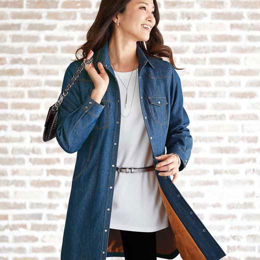 ジャケット 秋 冬 5L 4L 3Lサイズ 中わた入り裏配色ステッチデニムジャケット(3L〜5L) ベルーナ 40代 50代 60代 レディース ミセス ファッション 大きいサイズ おばあちゃん プレゼント あったか