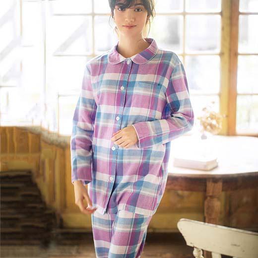 パジャマ 5L 4L 3L綿100%のやさしさ満点シャツパジャマ(3L〜5L) ベルーナ ラヴィエンヌ 秋冬 冬服 40代 50代 60代 ファッション レディース 大きいサイズ パジャマ ルームウェア 綿100% インナー