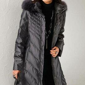 フォックスファー付ダウンコート<コリントス>(M〜LL) ベルーナ ルフラン 40代 50代 60代 レディース 女性 ミセス ファッション スプリングコート 春 アウター