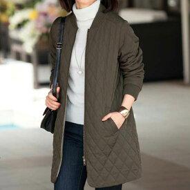 キルトステッチ使いロングブルゾン<キャリーノ>(M〜LL) ベルーナ ルフラン 40代 50代 60代 レディース 女性 ミセス ファッション