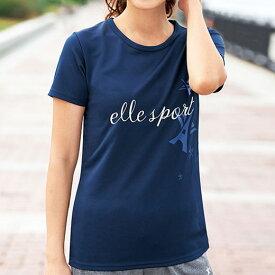 Tシャツ M L LL<ELLE SPORT>吸汗速乾Tシャツ(M〜LL) ベルーナ 40代 50代 60代 レディース ミセス ファッション シャツ トップス 吸汗速乾 夏 夏服 Belluna