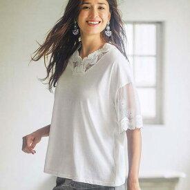 ●SALE!!セール●Tシャツ M LL L 3LレースデザインTシャツ ベルーナ ラナン 夏 夏服 30代 40代 ファッション レディース Tシャツ レース 白 黒 ベージュ 在庫処分 在庫限り アウトレット