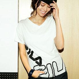 【クーポン配布中】Tシャツ M LL L 3L<FILA>プリントTシャツ ベルーナ Ranan ラナン 夏 夏服 30代 40代 ファッション レディース Tシャツ 白 黒 #sport