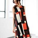 ワンピース M L LL 3L幾何柄フィッシュテールワンピース ベルーナ 30代 40代 ファッション レディース ワンピース 大…