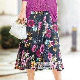フレアースカート 5L 4L 3Lシフォン楊柳素材プリントスカート(3L〜5L) ベルーナ 40代 50代 60代 レディース ミセス ファッション 大きいサイズ 夏服 スカート ボトムス Belluna