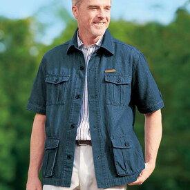 ジャケット S M LL L 3Lデニムサファリジャケット ベルーナ 40代 50代 60代 メンズ 男性 紳士 ファッション 夏服 ジャケット アウター 小さいサイズ サマーセール