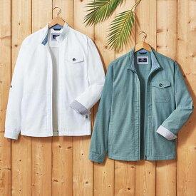 ジャケット S M LL L 3L<ミチコ ロンドン ジーンズ>涼やかサッカー素材シャツジャケット ベルーナ 40代 50代 60代 メンズ 男性 紳士 ファッション 夏服 ジャケット アウター 小さいサイズ