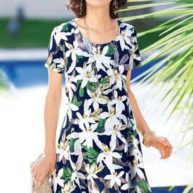 ●アウトレット●チュニック チュニックワンピース シャツ 半袖 夏 大きいサイズ フレアーシルエットプリントチュニック ベルーナ Belluna 40代 50代 60代 レディース 女性 ミセス ファッション 体型カバー 在庫処分 在庫限り タイムセール
