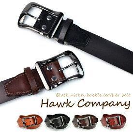 Hawk company ホークカンパニー ベルト ブラックニッケル バックル レザーベルト 337 【 メンズ 本革 一枚革 バックル ギフト プレゼント 】
