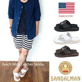 THE SANDALMAN サンダルマン メンズ ビーチワイド ブルハイド×スエード ホワイト ブラック ブラウン 【 サンダル メンズ MEN'S アメリカ製 ブランド 】