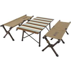 【ロゴス】 LOGOS Life キャリーオンテーブルセット4(ビンテージ) [サイズ:幅98.5×奥行50×高さ38cm] #73173152 【スポーツ・アウトドア:アウトドア:イス・テーブル・レジャーシート:イス・テーブル
