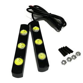 LED デイライト 3灯 ホワイト 2個セット ヴェルファイア アルファード 20系 30系 プリウス 50系 CHR NBOX フリード スペーシア ワゴンR タント 新型【メール便】