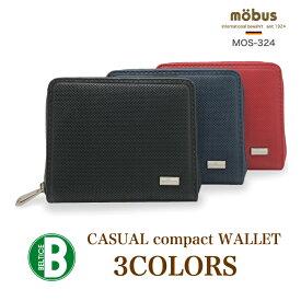 518122c71901 モーブス ラウンドファスナー二つ折り財布 メンズ/ユニセックス クロ/ネイビー/レッド コンパクト