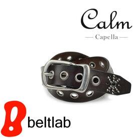 ベルト メンズ レディース スタッズベルト 牛革 日本製 ストーン ハトメをデザイン しっかり牛革に馬蹄型 バックル カジュアルベルト 本革ベルト デニム Belt ギフト Calm -Capella-
