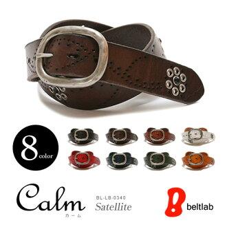 ベルト専門店 選べる900種類 スタッズベルト『Calm -Satellite-』楽しい8色が大人気の本革ベルト、ながれるパンチングにブラックストーンがかがやく、メンズ、レディースにギャリソンバックルのレザーベルト MEN'S LADY'S 男性用 レデイース 紳士用 ladies Belt
