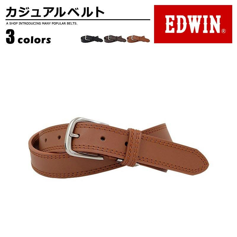 ベルト メンズ エドウィン EDWIN 牛革 牛革 カジュアル プレゼント シンプル ユニセックス men's ladies belt ブラック ダークブラウン ブラウン 黒 濃茶 茶 ベルトン Belton
