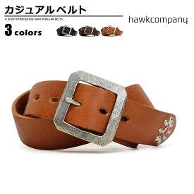 ベルト メンズ ホークカンパニー Hawk Company 1727 カジュアルベルト レザー 正方形バックル 幅40mm バックル Men's ladies belt ブラック ダークブラウン ブラウン ベルトン Belton