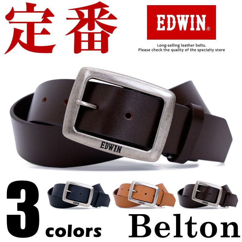 ベルト メンズ エドウィン EDWIN カジュアルベルト 牛革 亜鉛合金 鉄 プレゼント 幅40mm 無地 シンプル EDWIN 0111006 men's ladies belt ブラック ダークブラウン ブラウン ベルトン Belton