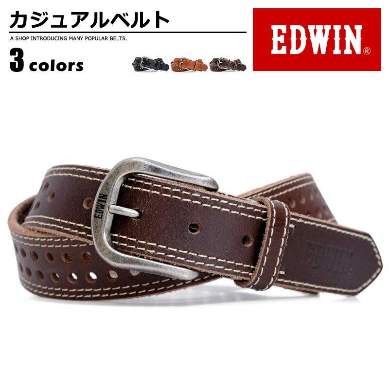ベルト メンズ エドウィン EDWIN カジュアルベルト 牛革 亜鉛合金 鉄 プレゼント 幅35mm 無地 シンプル EDWIN 0111008 men's ladies belt ブラック ダークブラウン ブラウン ベルトン Belton