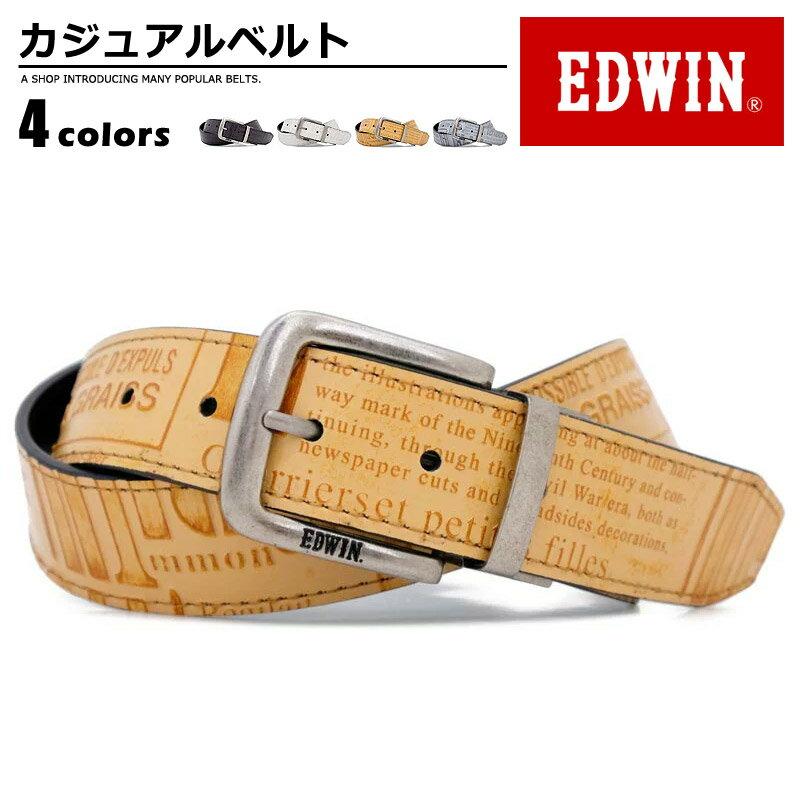 ベルト メンズ エドウィン EDWIN リバーシブルベルト 英字 クラフトベルト 合成皮革 カジュアル プレゼント 幅35mm 英字 men's ladies belt ダークブラウン ホワイト ブラウン グレー ワンサイズ ベルトン Belton