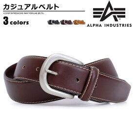 ベルト メンズ ALPHA INDUSTRIES(アルファインダストリーズ) カジュアルベルト 牛革 ステッチ カジュアル プレゼント ステッチ ユニセックス ブラック ダークブラウン ブラウン ベルトン Belton