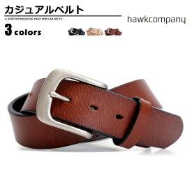 ベルト メンズ ホークカンパニー Hawk Company カジュアルベルト 牛革 1728 ベーシック ボタン 幅37mm バックル交換可 ギフト Men's ladies belt ブラック ダークブラウン ナチュラル ベルトン Belton