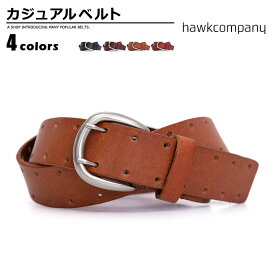 ベルト メンズ ホークカンパニー Hawk Company カジュアルベルト 牛革 ダブルピン カジュアル プレゼント シンプル ユニセックス men's ladies belt ブラック ダークブラウン レッド ベルトン Belton