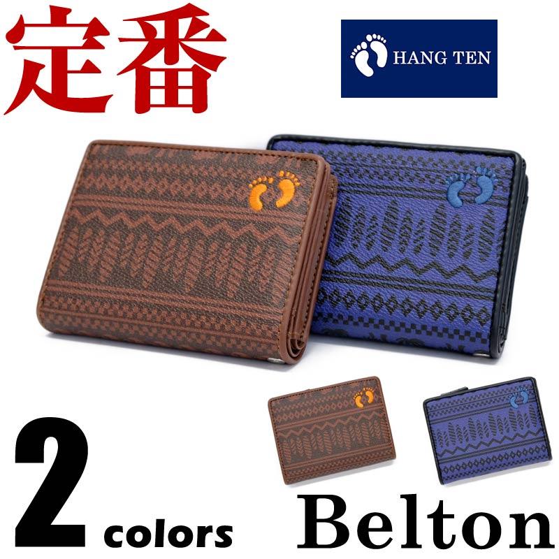 【ネコポスで送料無料】財布 メンズ HANG TEN(ハンテン) 二つ折り財布 合成皮革 ストラップ用ホール 柄 フットマーク wallet ベルトン Belton