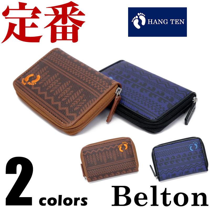 【ネコポスで送料無料】財布 メンズ HANG TEN(ハンテン) コインケース 合成皮革 ラウンドジップ カジュアル プレゼント 柄 フットマーク wallet ベルトン Belton