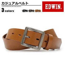 エドウィン EDWIN ベルト カジュアル メンズ 本革 ブランドロゴ ブラック/ダークブラウン/ブラウン 幅30mm 110938
