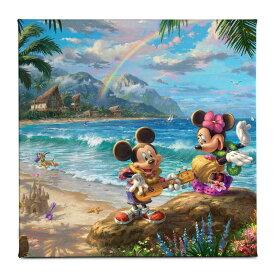 【あす楽】 ディズニー Disney US公式商品 ミッキーマウス ミッキー ミニーマウス ミニー トーマスキンケード Thomas Kinkade キャンバス 絵画 アート インテリア 絵 飾り アートワーク [並行輸入品] 'Mickey and Minnie in Hawaii'' Gallery Wrapped Canvas