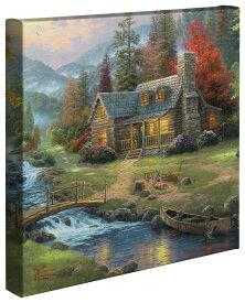 """【取寄せ】 風景 景色 自然 大きさ 35.5cm x 35.5cm 絵画 絵 アート キャンバス インテリア 装飾 デザイン 壁 Thomas Kinkade トーマスキンケード 風景画 [並行輸入品] Thomas Kinkade Mountain Paradise - 14"""" x 14"""" Gallery Wrapped Canvas グッズ ストア プレゼン"""