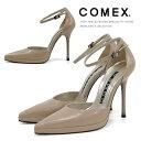 COMEX パンプス ポインテッドトゥ ハイヒール アンクルストラップ セパレート ベージュ COMEX (5418) 靴 美脚 結婚式 【送料無料】